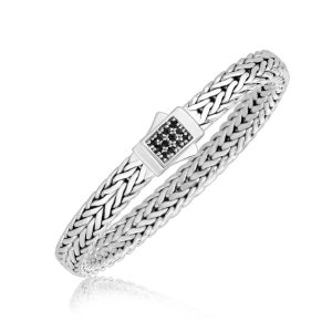 Sterling Silver Braided Black Sapphire Embellished Men's Bracelet