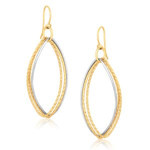 14K Two Tone Gold Textured Triple Oval Shape Drop Earrings