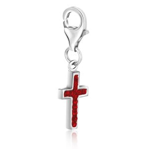 Sterling Silver Cross Charm with Red Tone Crystal Accents