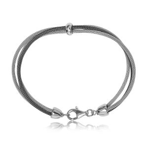 Sterling Silver Rhodium and Ruthenium Plated Wheat Motif Bracelet