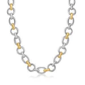 18K Yellow Gold and Sterling Silver Multi Shape Rhodium Plated Necklace