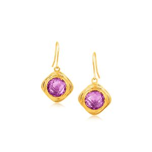 Italian Design 14K Yellow Gold Filament Earrings with Round Amethyst