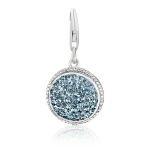 Sterling Silver Aqua Tone Embellished Round Charm
