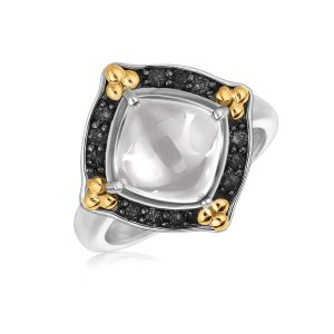 18K Yellow Gold and Sterling Silver Rock Crystal Ring with Black Sapphires