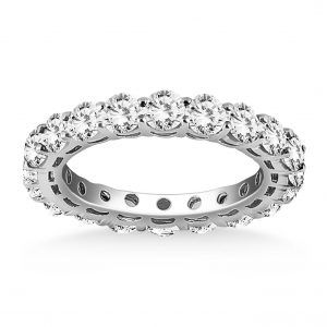14K White Gold Shared Prong Round Cut Diamond Eternity Ring