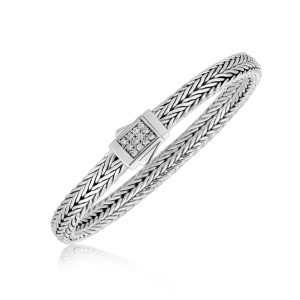 Sterling Silver Braided Style Men's Bracelet with White Sapphire Embellishments