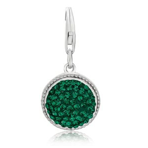 Sterling Silver Dark Green Tone Crystal Embellished Charm in Round Design