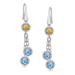 18K Yellow Gold and Sterling Silver Flower Motif Blue Topaz Dangling Earrings