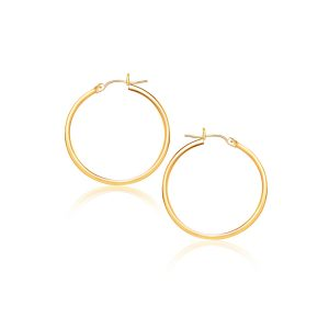 14K Yellow Gold Polished Hoop Earrings (40 mm)