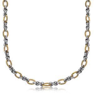 18K Yellow Gold and Sterling Silver Rolo and Oval Cable Inspired Chain Necklace