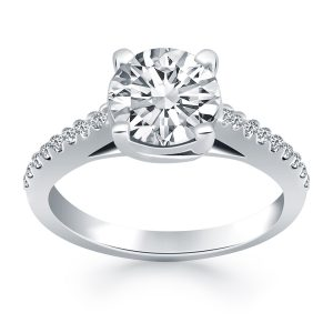 14K White Gold Trellis Diamond Engagement Ring