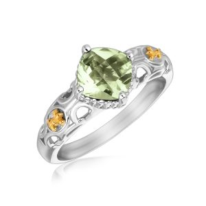 18K Yellow Gold and Sterling Silver Green Amethyst Fleur De Lis Designed Ring