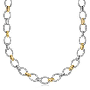 18K Yellow Gold and Sterling Silver Chain Necklace with Rhodium Plating