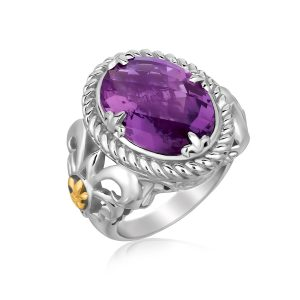 18K Yellow Gold and Sterling Silver Oval Amethyst Fleur De Lis Style Ring