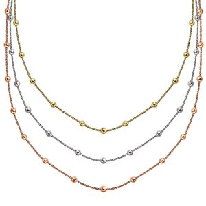 Sterling Silver 3-Strand Stationed Sparkle Chain Necklace in Multi Tone Style