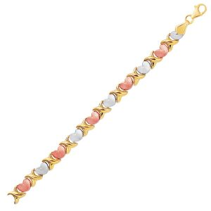 14K Tri-Color Gold Fancy Satin Heart Line Bracelet
