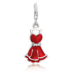 Sterling Silver Charm with Red Enamel Finish and Crystal Accented Bow Belt
