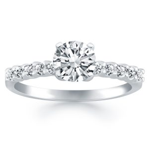 14K White Gold Shared Prong Diamond Band Accent Engagement Ring
