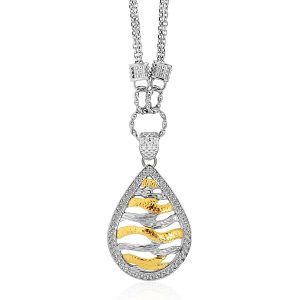 Designer Sterling Silver and 14K Yellow Gold Teardrop Wave Necklace