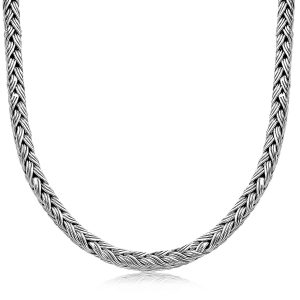 Oxidized Sterling Silver Braided Style Men's Necklace