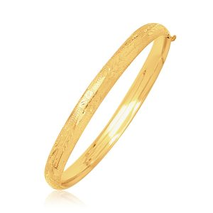 14K Yellow Gold Dome Motif Children's Bangle with Diamond Cuts