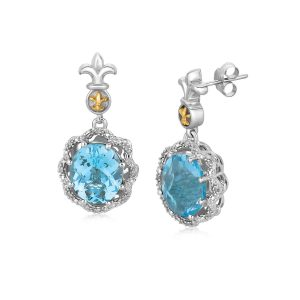 18K Yellow Gold and Sterling Silver Earrings with Blue Topaz and Diamonds