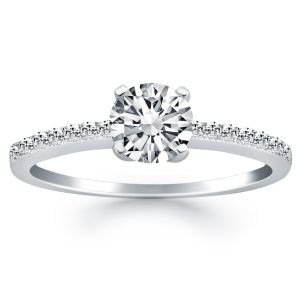 14K White Gold Engagement Ring with Pave Diamond Band