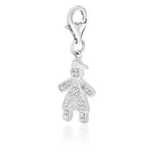 Sterling Silver April Birthstone Boy Charm with White Tone Crystal Accents