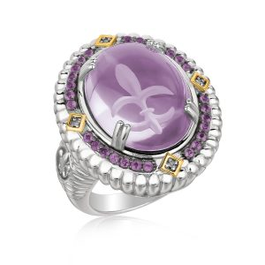 18K Yellow Gold and Sterling Silver Oval Ring with Fleur De Lis Carved Amethyst