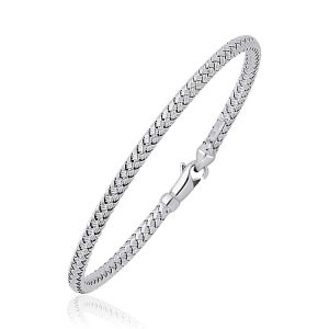 Fancy Weave Bangle in 14K White Gold (3.0mm)