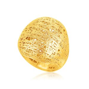 Italian Design 14K Yellow Gold Woven Bombe Dome Ring