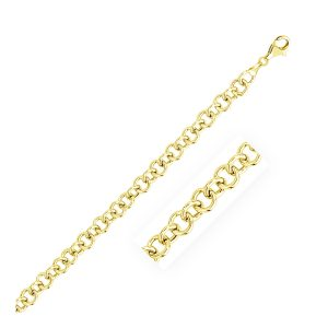 7.0 mm 14K Yellow Gold Link Charm Bracelet