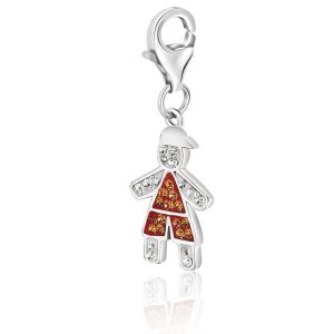 Sterling Silver Boy Charm Bedecked with Orange and White Tone Crystals