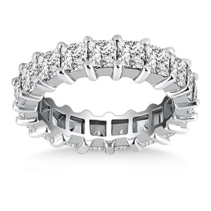 14K White Gold Common Prong Princess Cut Diamond Eternity Ring