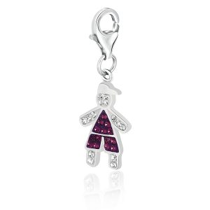 Sterling Silver Boy Charm Studded with Multi Tone Crystals