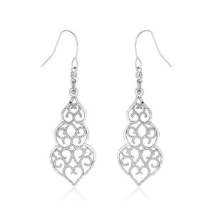 10K White Gold Fancy Drop Earrings