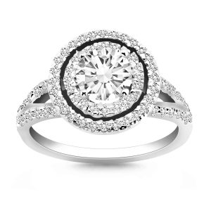 14K White Gold Double Halo Diamond Split Shank Engagement Ring