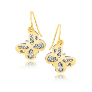 14K Two-Tone Gold Butterfly Dangle Earrings