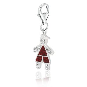 Sterling Silver Boy Charm Decorated with Red and White Crystals