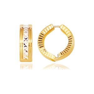 14K Two-Tone Gold Reversible Patterned Hinged Hoop Huggie Earrings