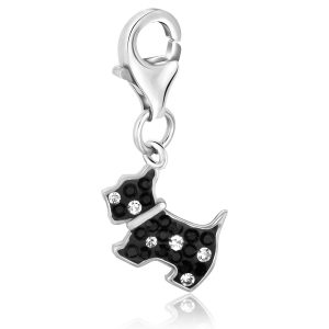 Sterling Silver Black and White Tone Crystal Accented Dog Charm