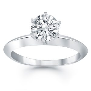 14k White Gold Knife Edge Solitaire Engagement Ring