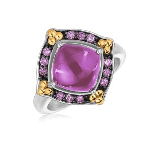 18K Yellow Gold and Sterling Silver Ring with Cabochon and Pink Sapphires