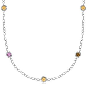 18K Yellow Gold and Sterling Silver Long Multi Gem Accentuated Necklace