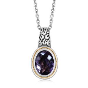 18K Yellow Gold and Sterling Silver Necklace with Oval Milgrained Pink Amethyst