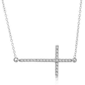 14K White Gold Slim Diamond Crucifix Necklace (1/4 ct tw)