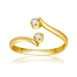 14K Yellow Gold Cubic Zirconia Accented Curve Ended Toe Ring