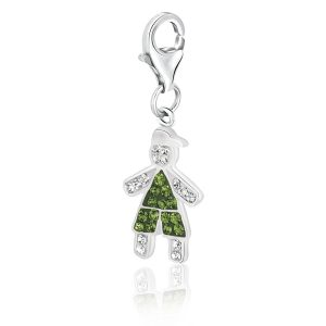 Sterling Silver August Birthstone Boy Charm with Multi Color Crystal Accents