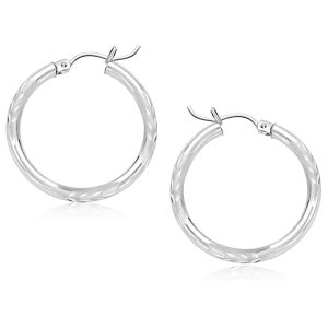 14K White Gold Diamond Cut Hoop Earrings (25 mm)