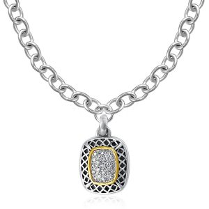 Designer Sterling Silver and 14K Yellow Gold Cushion Shape Pave Diamond Pendant